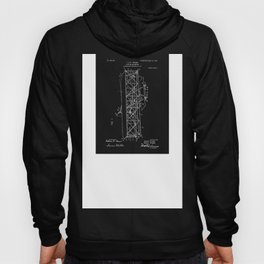 Wright Brothers Patent: Flying Machine - White on Black Hoody
