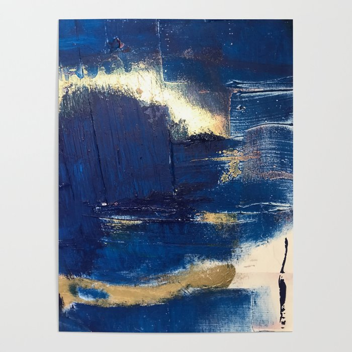Halo [2]: a minimal, abstract mixed-media piece in blue and gold by Alyssa  Hamilton Art Poster by blushingbrushstudio