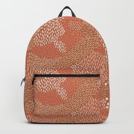 Brush Strokes Abstract Pattern, Brick with Coral and Tan Backpack