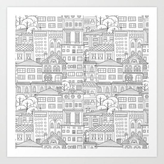 Doodle town pattern Art Print