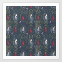 Parrot and dragonfruit baroque pattern Art Print