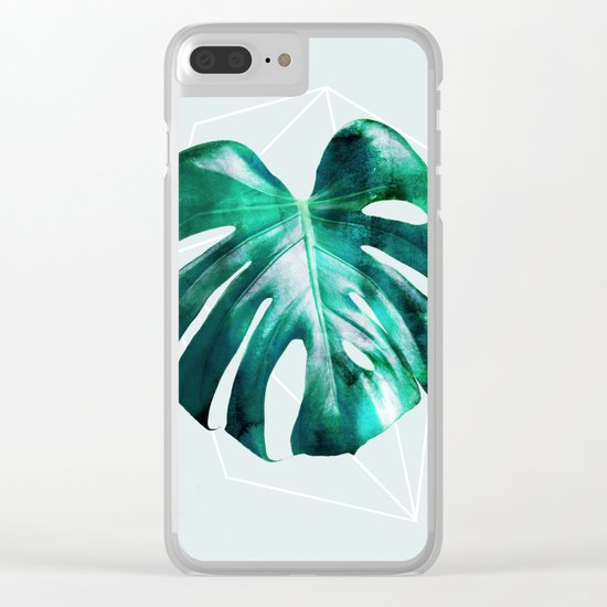 Monstera 2 Geometry Clear iPhone Case
