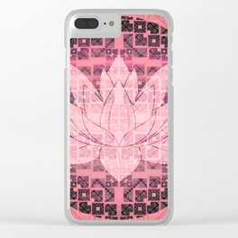 Pink Luminous Techno Lotus Clear iPhone Case