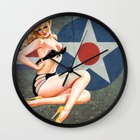 aviation Wall Clocks featuring WWII Nose Art Aviation Vintage Pinup Girl by Pinup Lighters