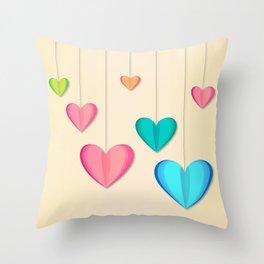 Hangin Hearts Throw Pillow