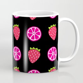 Tropical exotic juicy pink grapefruit citrus slices and ripe red strawberries summer fruity black whimsical cute pattern design. Coffee Mug