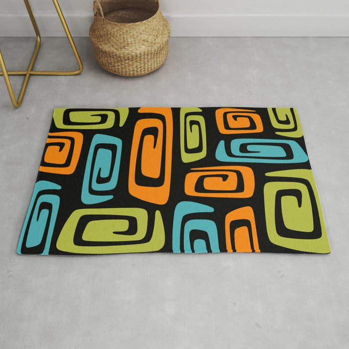 Mid Century Modern Cosmic Abstract 739 Black Green Blue And Orange Rug By Tonymagner