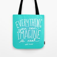 picasso Tote Bags featuring Picasso: Imagine by Leah Flores