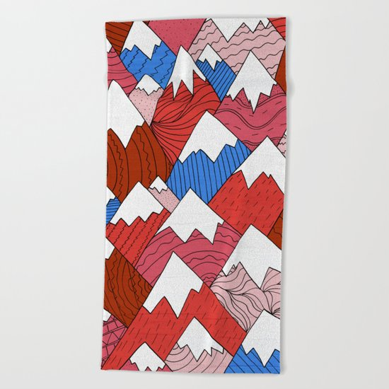 The Red Mountains (Pattern) Beach Towel