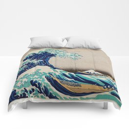 Massive Waves Japanese Art Comforters