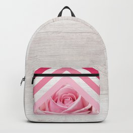 Pink Rose on White Wood - Floral Romantic Geometric Design Backpack