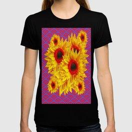 Yellow-Red Sunflowers Red-Blue Pattern Art T-shirt