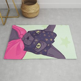Superhero Cat - Starlord Kitty Wearing a Mask Rug