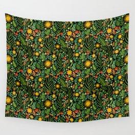 Sunshine Botanical - Dark Version Wall Tapestry
