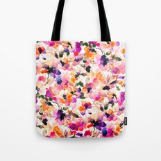 Chic Floral Pattern Pink Orange Pastel Watercolor Tote Bag