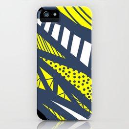 Geometric mix / navy & yellow iPhone Case