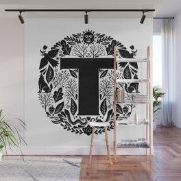 Letter T monogram wildwood Wall Mural