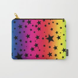 Rainbow Stripes And Black Stars Carry-All Pouch