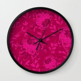 Chrysanthemum Pink Wall Clock