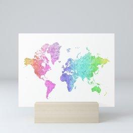 "Rainbow world map in watercolor style ""Jude"" Mini Art Print"