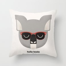 Holla Koala Throw Pillow