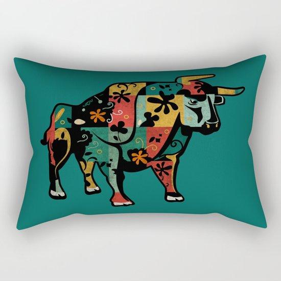 Flower Bull Rectangular Pillow