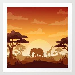 Abstract African Safari Art Print