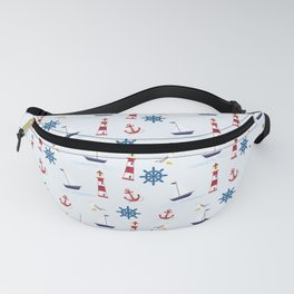 nautical blue pattern Fanny Pack