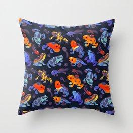 Poison dart frogs - dark Throw Pillow