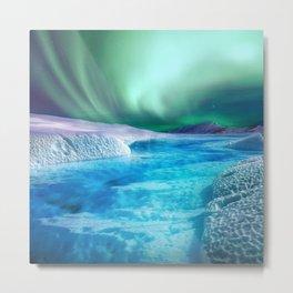 Icy Aurora Metal Print