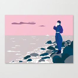 Woman by the sea Canvas Print