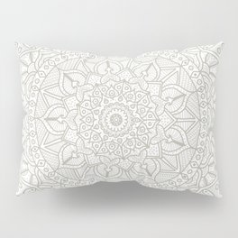 Gray Circle of Life Mandala on White Pillow Sham