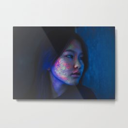 Fluorescent neon young woman Metal Print