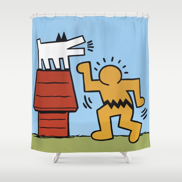 Keith haring charles schulz shower curtain by - Keith haring shower curtain ...