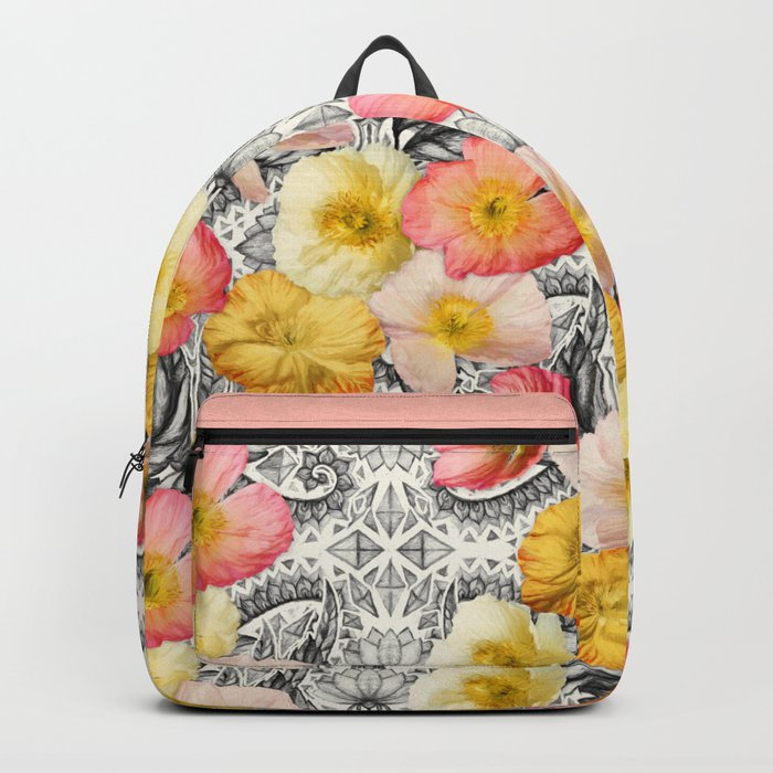 Collage of Poppies and Pattern Backpack