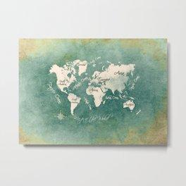 world map 151 green white #worldmap #map Metal Print