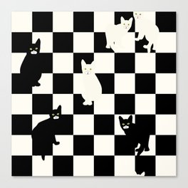 Chess background with cats, white and black Canvas Print