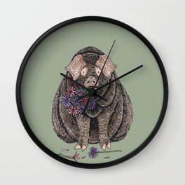 Pig with Flowers Wall Clock