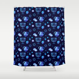 Happy Hanukkah Festival Holiday Decoration JUDAICA Shower Curtain