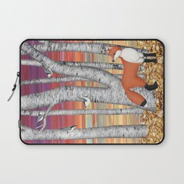 nuthatches and fox in the birch forest Laptop Sleeve