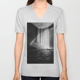 Waterfall Paradise (Black and White) Unisex V-Neck