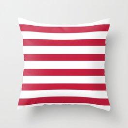 Strawberry Red Stripes on White Throw Pillow