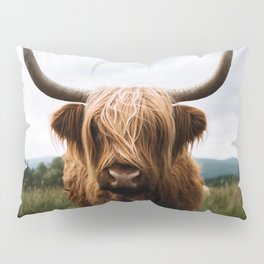 Scottish Highland Cattle in Scotland Portrait II Pillow Sham