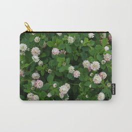 Clover flowers green and white floral field Carry-All Pouch