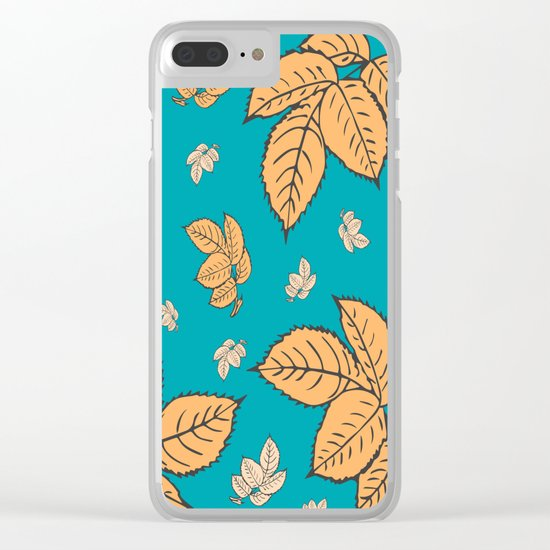 HAPPY LEAVES ON TURQUOISE (abstract tropical flowers) Clear iPhone Case