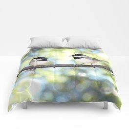 2 black-capped chickadees - bokeh Comforters
