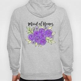 Maid Of Honor Wedding Bridal Purple Violet Lavender Roses Watercolor Hoody