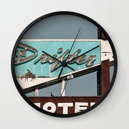 Vintage Neon Sign - The Drifter - Silver City Wall Clock