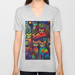 Rainbow cats Unisex V-Neck
