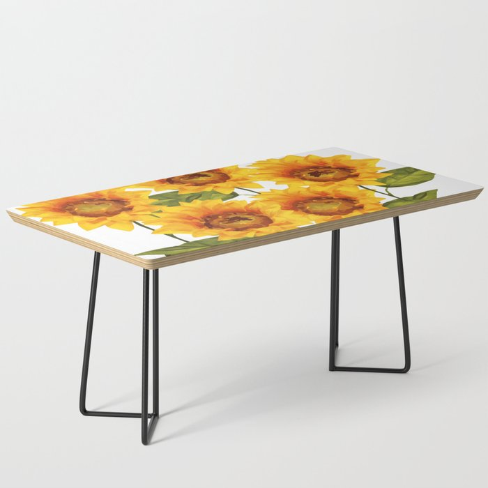 Design Five Sunflower On White Background Coffee Table By Move Art